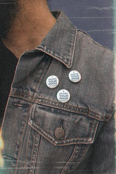Print Mockup of Three Little Buttons on a Denim Garment M12556