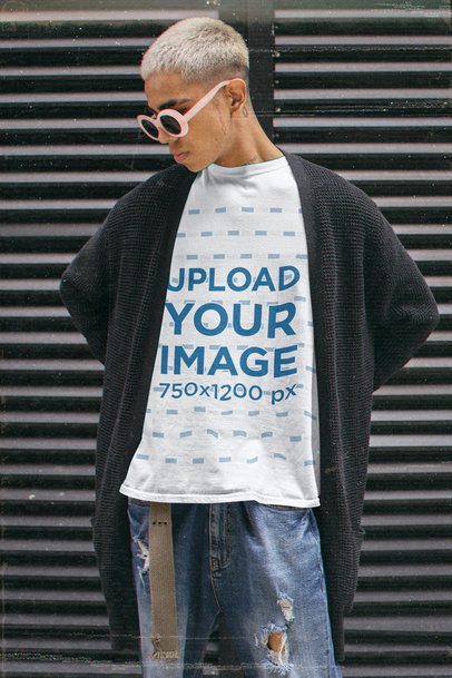 T-Shirt Mockup of a Man with Sunglasses in a 90's Grunge Outfit m12514