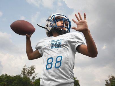 Custom Football Jerseys - Boy Throwing the Ball Outdoors a16731