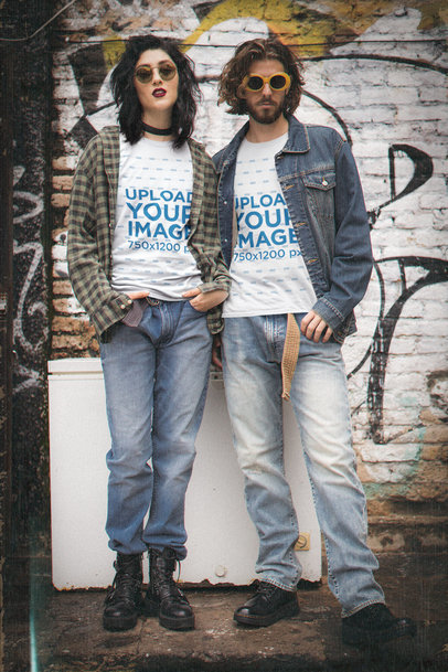 T-Shirt Mockup of a Couple in Matching 90's Grunge Outfits M12542