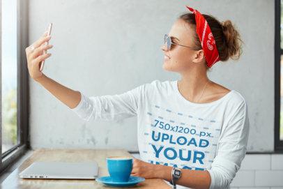 Long Sleeve Tee Mockup of a Woman Taking a Selfie m3165-r-el2