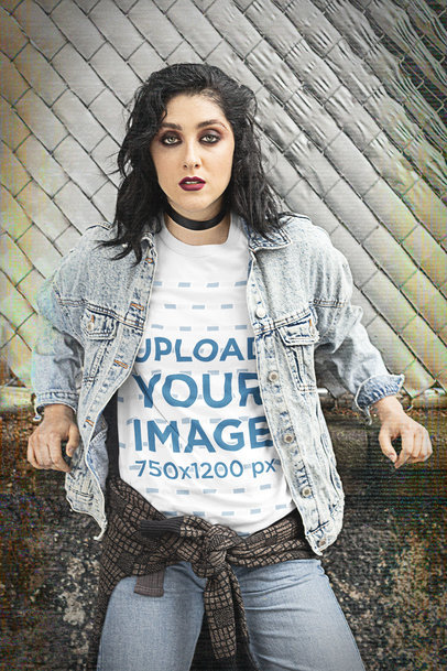 90s-Styled T-Shirt Mockup Featuring a Serious Woman m12548