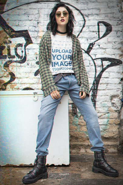T-Shirt Mockup Featuring a Woman in Grunge-Aesthetic Garments m12554