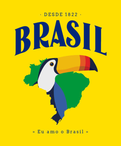 T-Shirt Design Maker Featuring a Brazil Map and a Toucan Graphic 3952