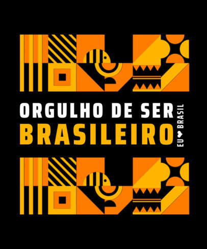 T-Shirt Design Template Featuring a Proud-to-Be-Brazilian Quote 3953a