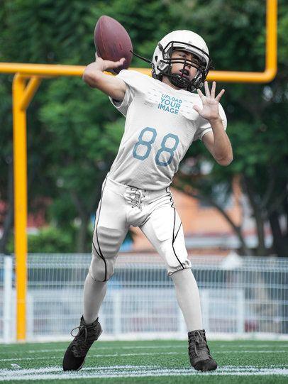 Custom Football Jerseys - Boy Throwing the Ball at the Field a16735