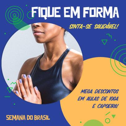 Fitness-Themed Instagram Post Design Template With Semana do Brasil Offers 3936d