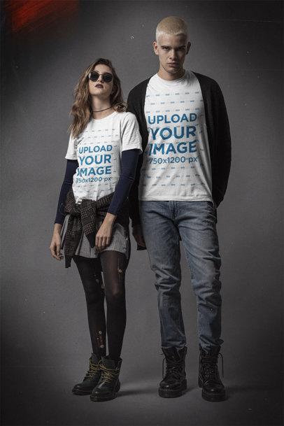 Mockup of a Man and a Woman Wearing Bella Canvas T-Shirts m12733
