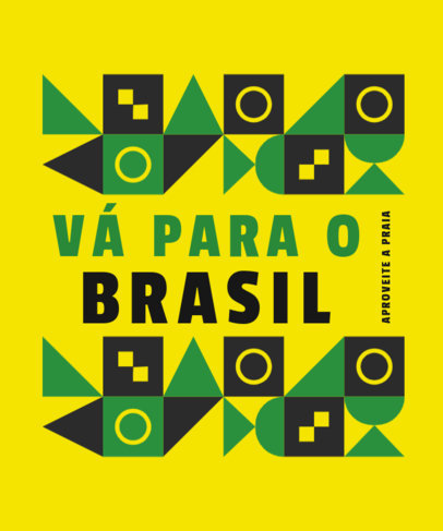 Quote T-Shirt for Proud Brazilians Featuring Abstract Geometric Patterns 3953d