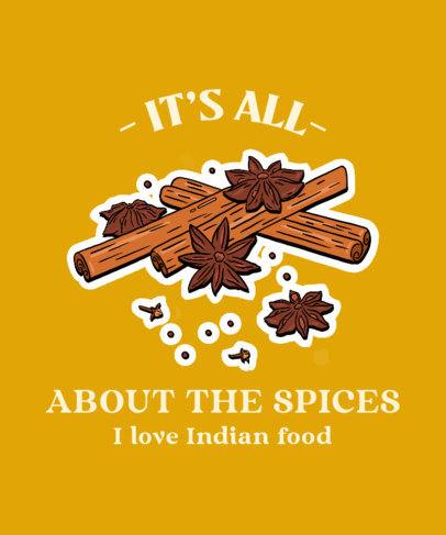 T-Shirt Design Maker Featuring an Indian Food Quote 3942e