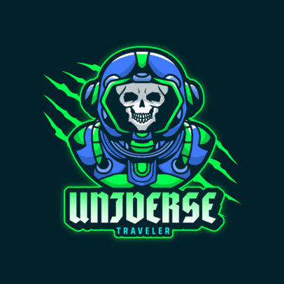 Astronaut-Themed Logo Maker for Gamers With a Skull Graphic 4562A