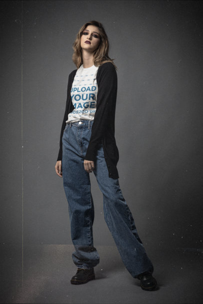 Mockup of a Serious Woman Wearing a Bella Canvas T-Shirt at a Studio m12738