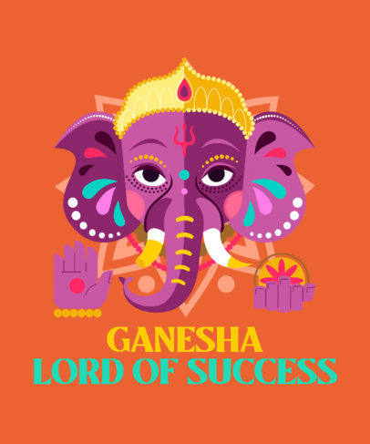 T-Shirt Design Maker Featuring Ganesh Chaturthi-Themed Illustrations and Quotes 3947c