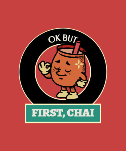 T-Shirt Design Template for Indian Food Enthusiasts With a Chai Tea Quote 3943g