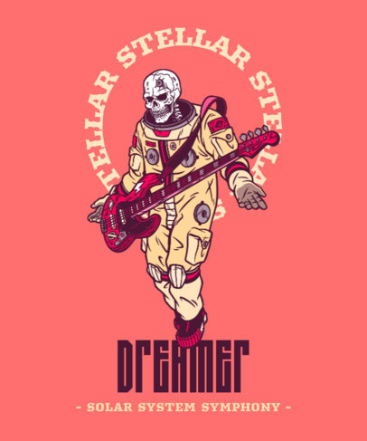 T-Shirt Design Maker With a Skeleton in an Astronaut Suit Playing the Bass Guitar 4565c