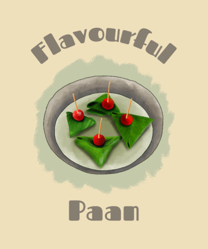 Indian Food-Themed T-Shirt Design Template With a Paan Illustration 3944e