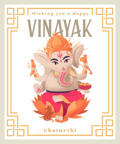 T-Shirt Design Template Featuring an Illustration of Ganesha 3948c
