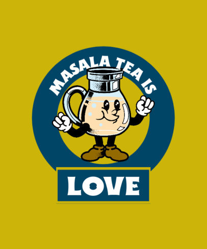 Quote T-Shirt Design Generator With an Indian Masala Tea Cartoon 3943d