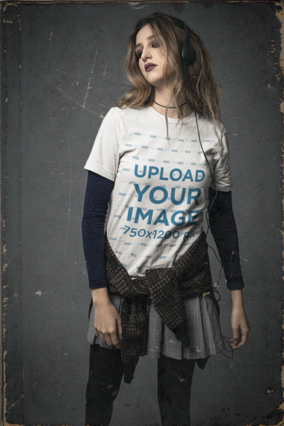 90s-Themed Mockup of a Woman Wearing a Bella Canvas Unisex Tee M12747