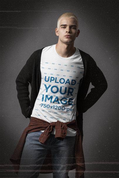 Bella Canvas T-Shirt Mockup Featuring a Serious Man at a Studio m12718