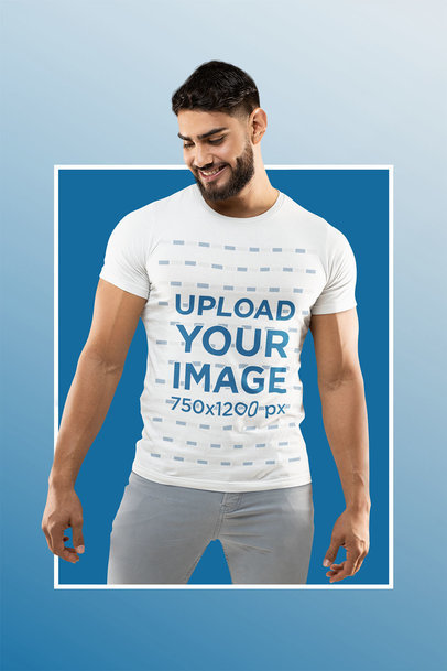 Bella Canvas T-Shirt Mockup Featuring a Muscular Man and a Frame m13955