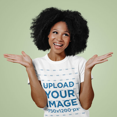 T-Shirt Mockup of a Funny Woman with Kinky Hair m12684-r-el2