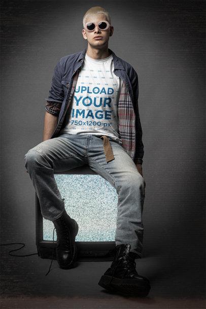 Bella Canvas T-Shirt Mockup of a Man Wearing 90's Grunge-Style Garments m12724