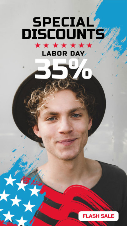 Instagram Story Template for a Labor Day Discount Ad 4320d-el1