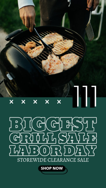 Instagram Story Generator with a Labor Day Discount for Grill Products 4322d-el1