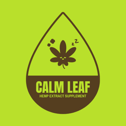 Logo Creator for a Hemp-Extract Supplement with a Sleeping Cannabis Leaf 4310a-el1