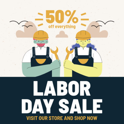 Illustrated Instagram Post Template Featuring Worker Characters 4315-el1