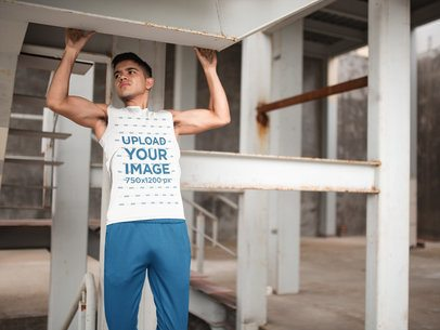 Man Doing Pull-Ups While Wearing Custom Sportswear Mockup a16794