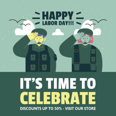 Labor Day-Themed Instagram Post Maker with Military Characters 4315a-el1