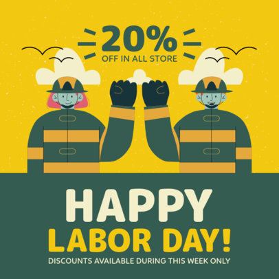 Instagram Post Template to Announce a Big Sale During Labor Day 4315d-el1