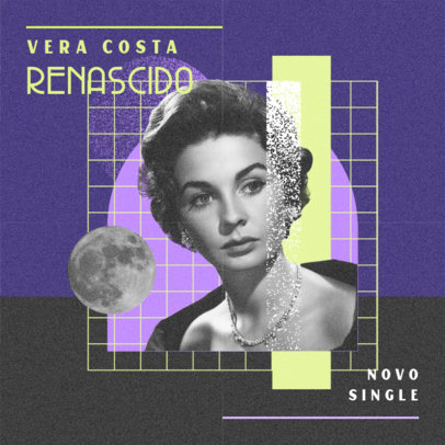 Album Cover Art Template for a Female Singer Featuring a Retro Collage Aesthetic 4587a