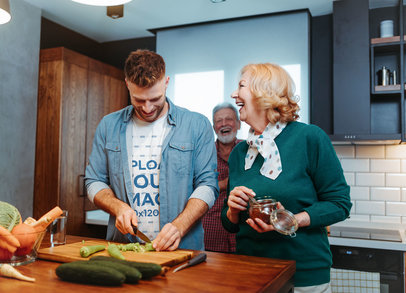 T-Shirt Mockup Featuring a Happy Man Cooking With His Parents m8531-r-el2