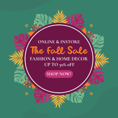 Ad Banner Template for an Online Autumn Sale Featuring Colorful Leaves 3991e