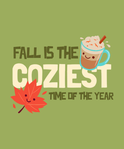 T-Shirt Design Template with Adorable Fall-Themed Graphics and Quote 3995h