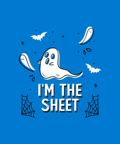 T-Shirt Design Template Featuring a Ghost Clipart and a Pun 4357f-el1