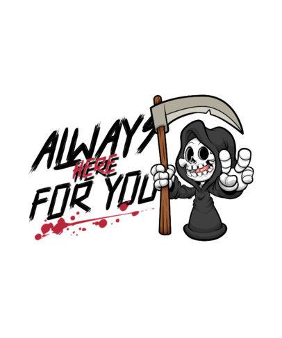 Horror T-Shirt Design Creator Featuring a Cartoonish Grim Reaper 4347e-el1
