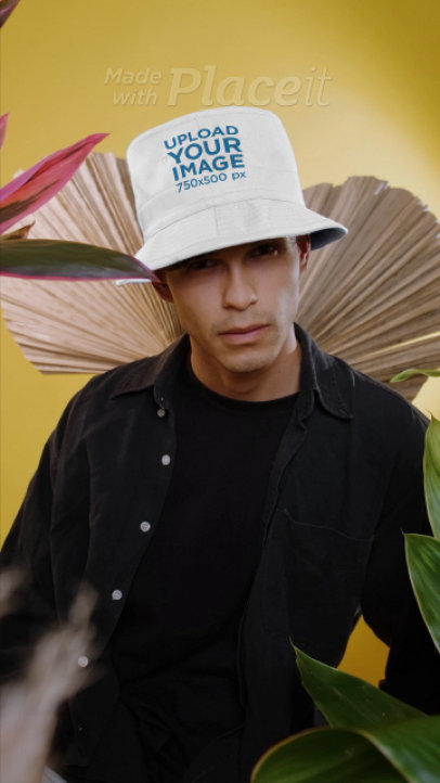 Bucket Hat Mockup Featuring a Cool Man in a Studio 3890v