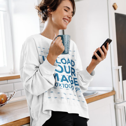Sweatshirt Mockup Featuring a Short-Haired Woman Laughing m11136-r-el2
