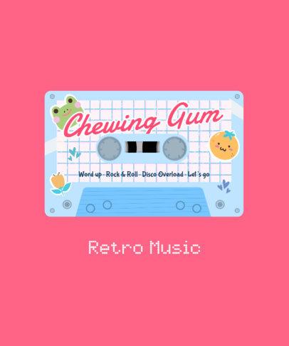 T-Shirt Design Maker Featuring Retro Music Cassettes with Kawaii Graphics 4021