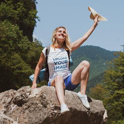 T-Shirt Mockup of an Adventurous Woman Having Fun at the Outdoors m12630-r-el2