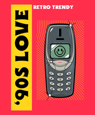 '90s-Themed T-Shirt Design Template Featuring Tech Devices 4022