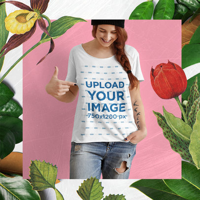 T-Shirt Mockup Featuring a Tattooed Woman and a Floral Frame M15650-r-el2