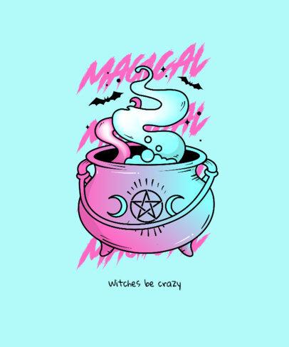 T-Shirt Design Maker Featuring a Magical Cauldron Illustration and a Pastel Color Palette 4366d