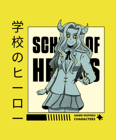T-Shirt Design Creator Featuring an Anime Character with Devil Horns 4622a