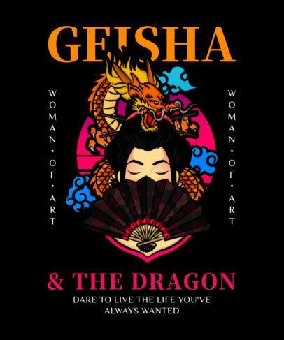 Cool T-Shirt Design Maker Featuring a Geisha and a Dragon 4023a