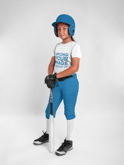 Custom Softball Jerseys - Girl Wearing her Uniform While Standing at a Studio a16813